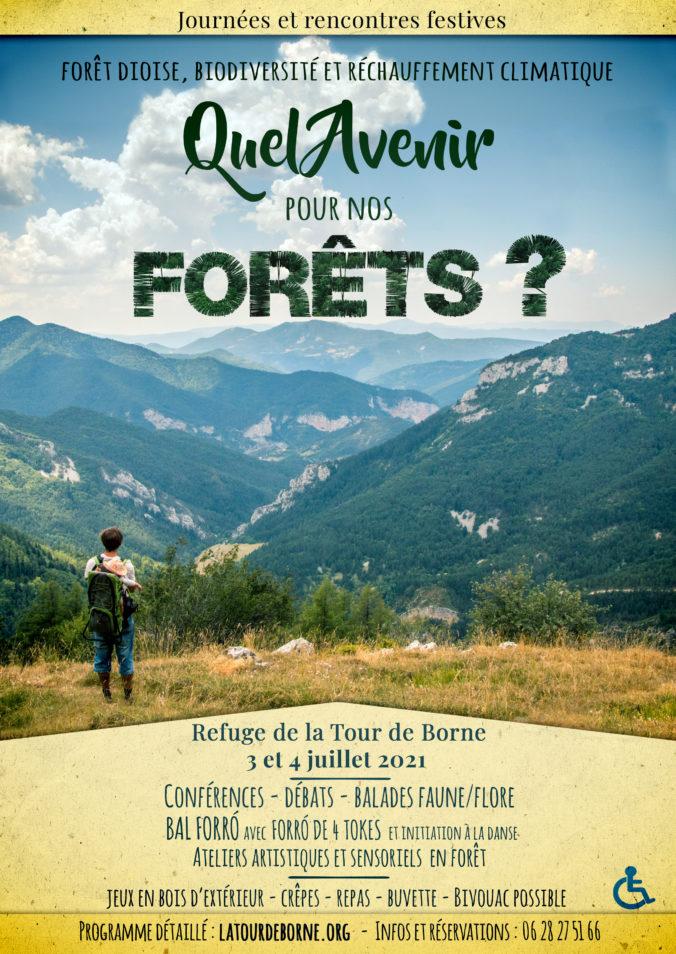 Affiche des journées et rencontres festives autour de l'avenir de nos forêts.